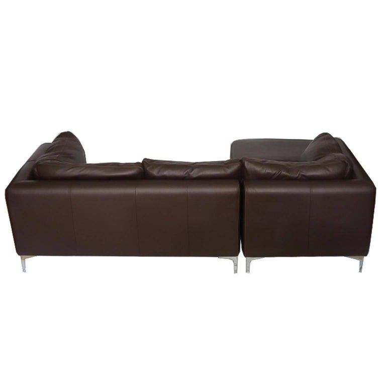 Modern Nicoletti for Design Within Reach Brown Leather Sectional For Sale