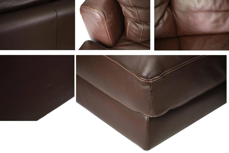 Italian Nicoletti for Design Within Reach Brown Leather Sectional For Sale