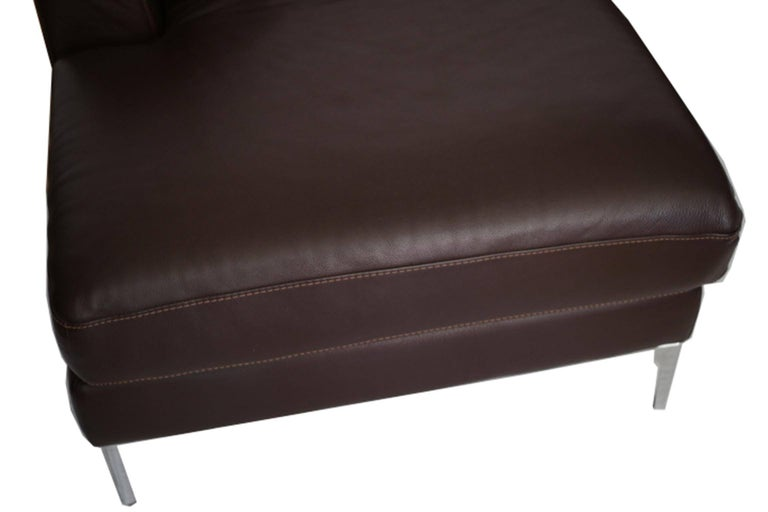 Nicoletti for Design Within Reach Brown Leather Sectional In Good Condition For Sale In San Francisco, CA