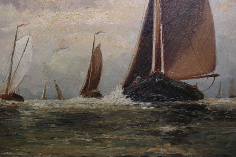 Victorian Untitled Sailboats on Water Oil on Canvas, circa 1910-1920 For Sale