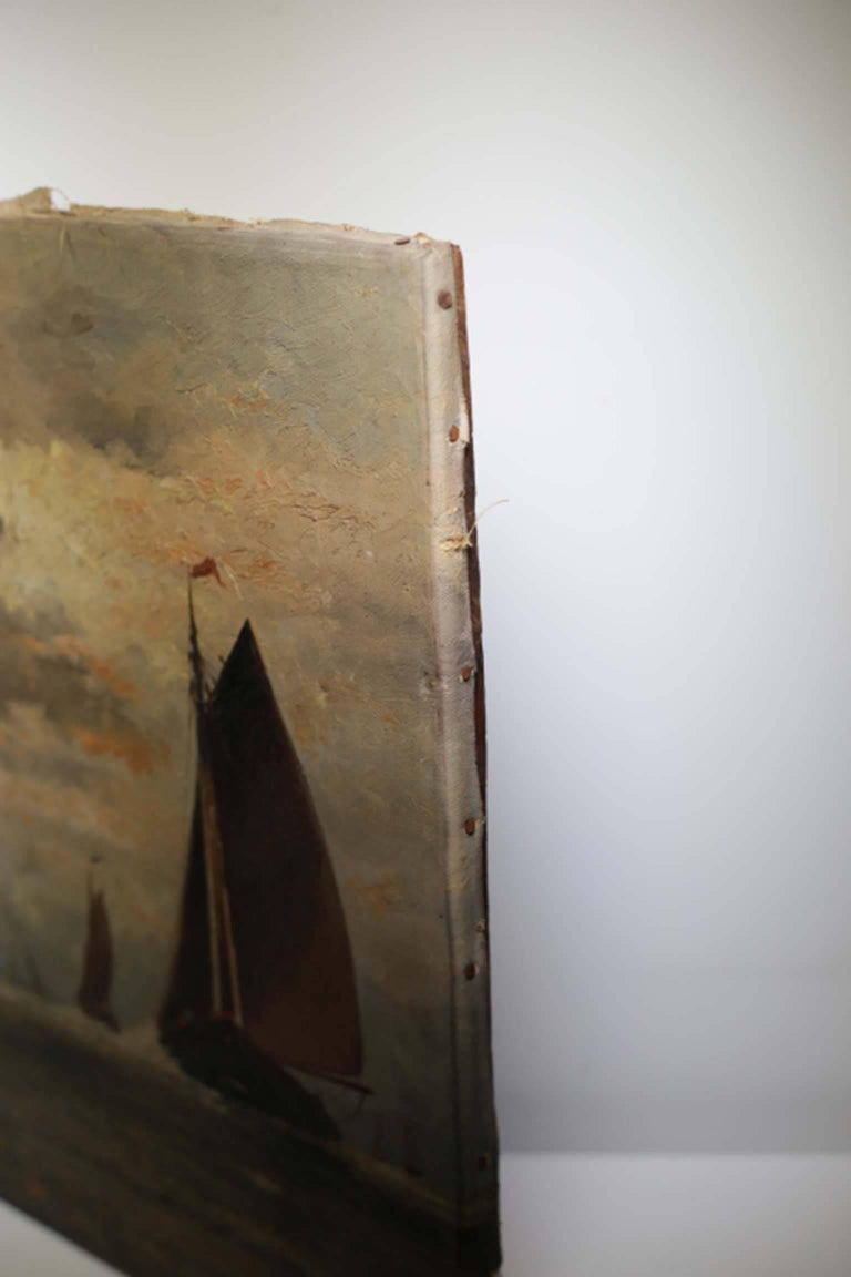 19th Century Untitled Sailboats on Water Oil on Canvas, circa 1910-1920 For Sale