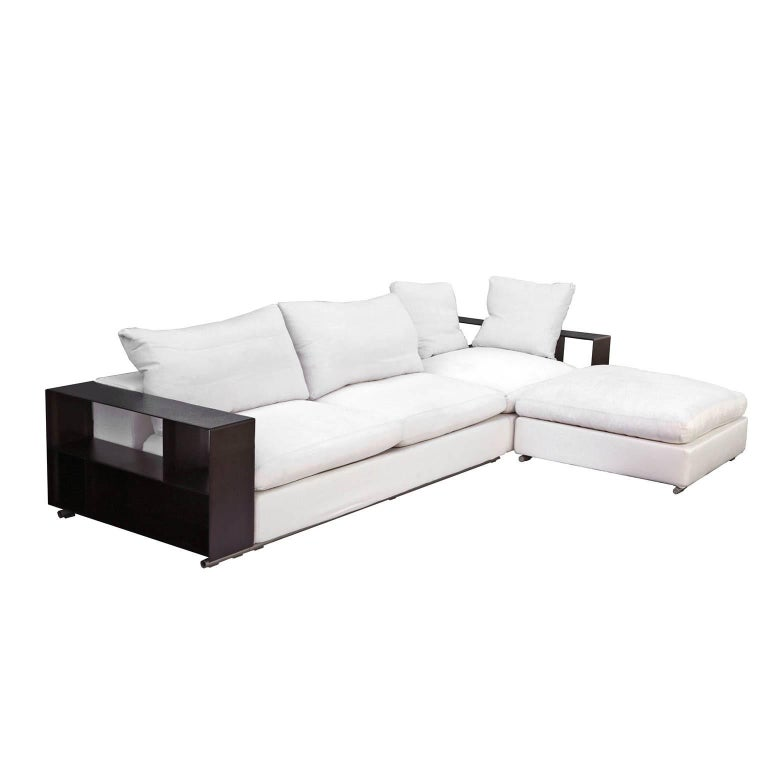Flexform Groundpiece Modular Sofa With Leather Armrest Shelves Made In Italy For Sale At 1stdibs