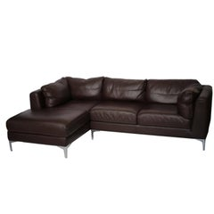 Nicoletti for Design Within Reach Brown Leather Sectional Made in Italy