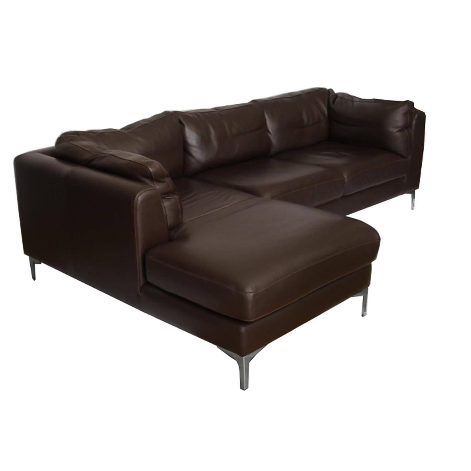 Nicoletti for Design Within Reach Brown Leather Sectional Made in
