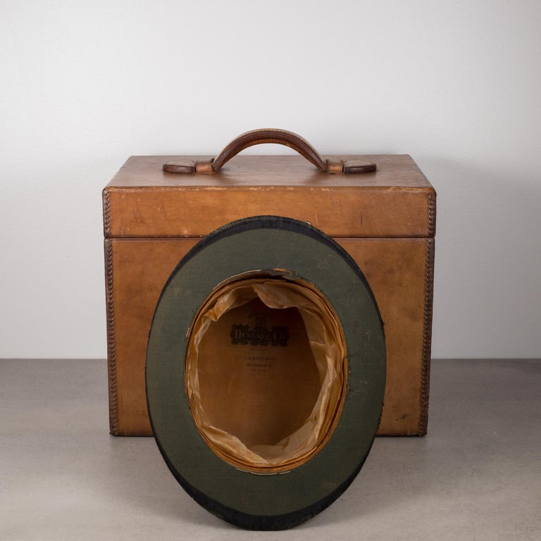 19th Century Beaver Skin Top and Original Leather Hat Box, circa 1800s For Sale 2