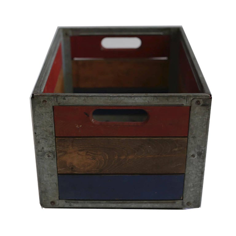 Early 20th Century Painted Wood and Steel Milk Crate, circa 1940s For Sale 2
