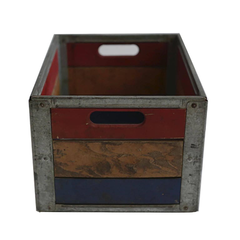 Early 20th Century Painted Wood and Steel Milk Crate, circa 1940s In Excellent Condition For Sale In San Francisco, CA