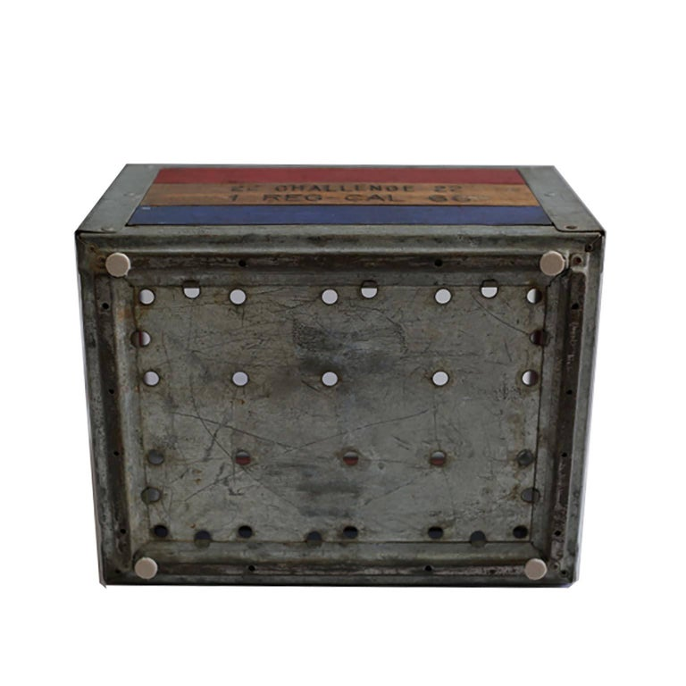 Early 20th Century Painted Wood and Steel Milk Crate, circa 1940s For Sale 3