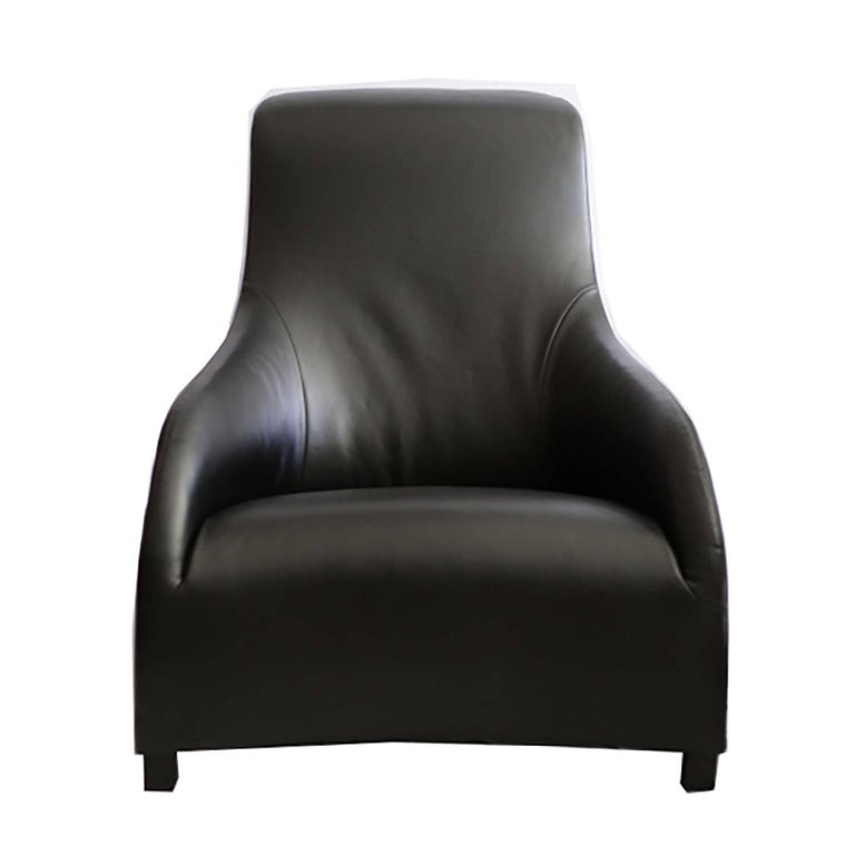 B&B Italia Black Leather Kalos Chair by Antonio Citterio for B&B Italia/Maxalto In Excellent Condition For Sale In San Francisco, CA