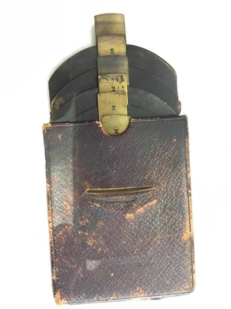 19th Century Late 19th-Early 20th Century Brass Camera Lens with Leather Case For Sale
