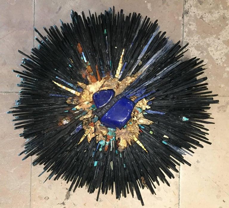 """Beatrice Serre 2018, unique Lapis lazuli Big Bang, slate, azurite, turquoise, rosacite, bronze, golden enamel. Measures: Diameter 38 cm, height 7 cm. Signed, unique piece 2018 """"PAD"""", Galerie Michèle Hayem, Paris2017 2017 """"PAD"""", Galerie Michèle"""