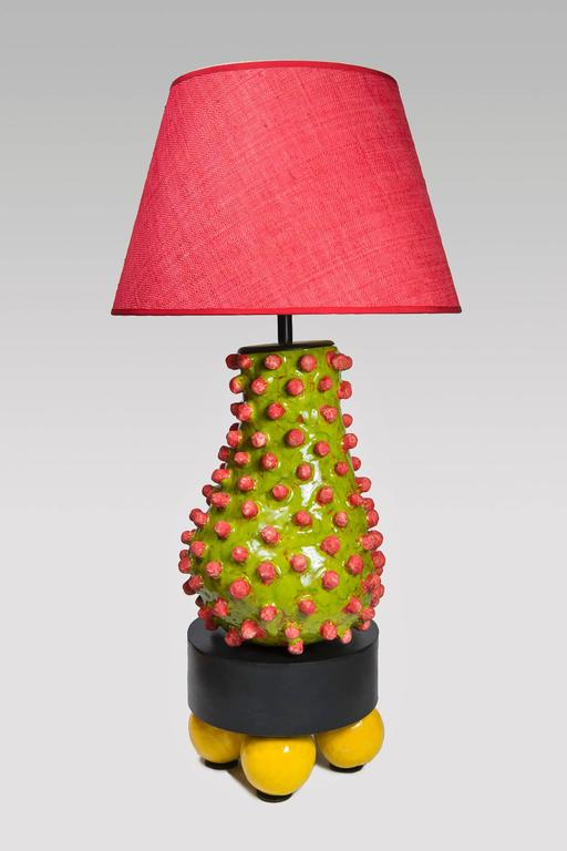 Alice Gavalet, table lamp Loulou, 2015, glazed ceramic, patina steel, signed, unique piece. Measures: 96 X 35 cm.  Alice Gavalet. Born in 1978, France. Education 2003 Diploma in Industrial Design, Ecole Nationale Supe´rieure des Arts