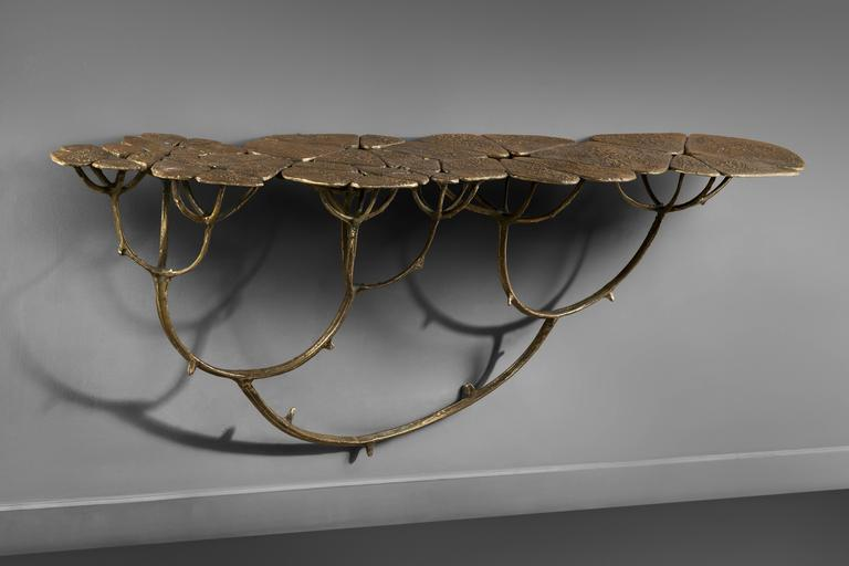 Mark Brazier - Jones 2016, Chlorophyl console 2/5 et 3/5, bronze, 173 cm long x 35 cm deep x 70 cm tall, dated, signed