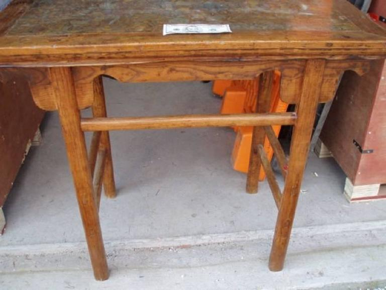 Chinese Antique Hardwood Wine Table with Rare Pudding Stone Inlay, Qing Dynasty In Good Condition For Sale In Shelburne, VT