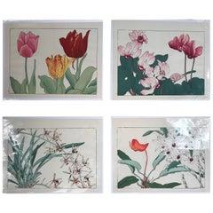 Japanese Four Old Woodblock Flower Prints, Konan, Immediately Frameable #5