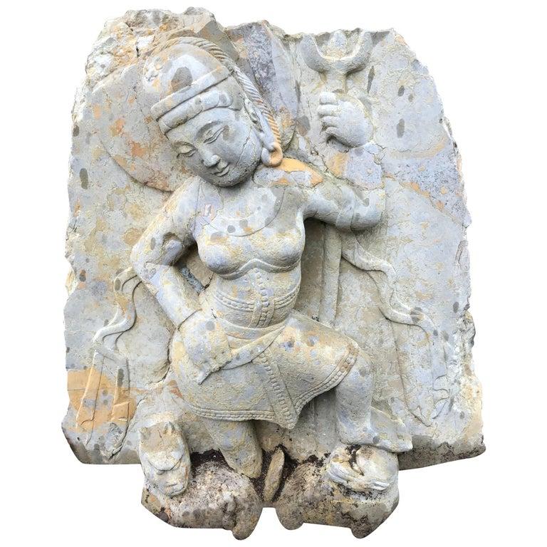 Big Sensual Stone Sculpture Parvati Goddess of Love, Fertility, Devotion For Sale
