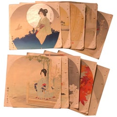 Japanese Antique Brilliant Colors Ten Woodblock Fan Prints Immediately Frameable