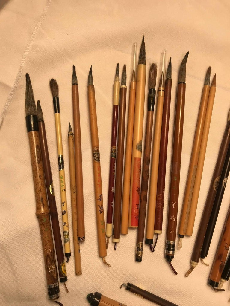 Hand-Crafted Artisan's Cache of 35 Old Chinese Paint Calligraphy Bamboo Brushes For Sale
