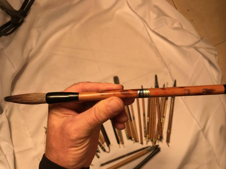 Artisan's Cache of 35 Old Chinese Paint Calligraphy Bamboo Brushes For Sale 3