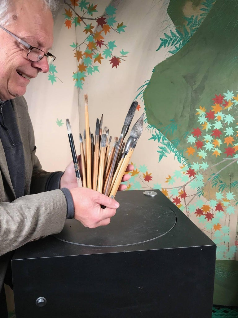 Here's a rare find from a collector we visited in Japan. A very unusual treasure from Japan.   This is a cache of old Chinese and Japanese bamboo paint and calligraphy artist brushes dating back to the 1930s. The bundle includes new and used