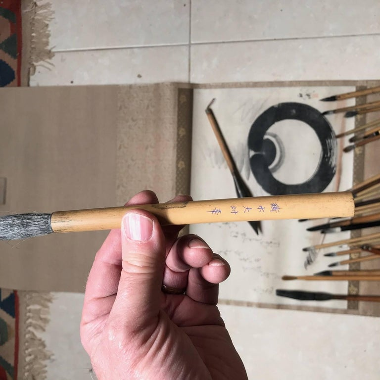 Artisan's Cache of 25 Old Chinese Paint Calligraphy Bamboo Brushes For Sale 2