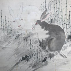 Japanese Antique Rabbits Hand-Painted Scroll, 19th Century