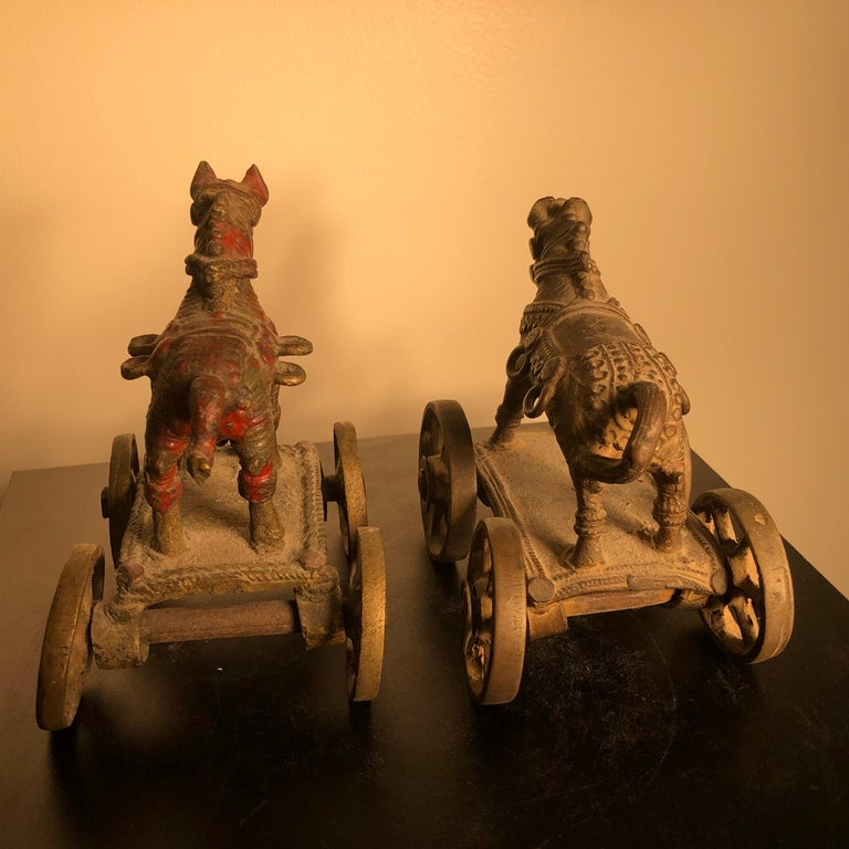 Cast Beautiful Old Bronze Horse Pair Temple Toys Collected in Mumbai For Sale