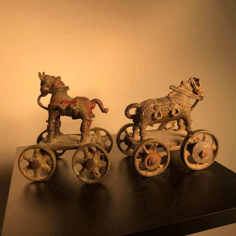 Indian Beautiful Old Bronze Horse Pair Temple Toys Collected in Mumbai For Sale