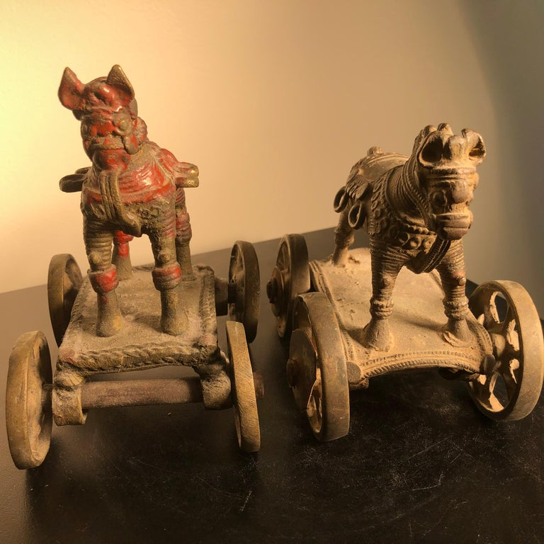 Beautiful Old Bronze Horse Pair Temple Toys Collected in Mumbai In Good Condition For Sale In Shelburne, VT