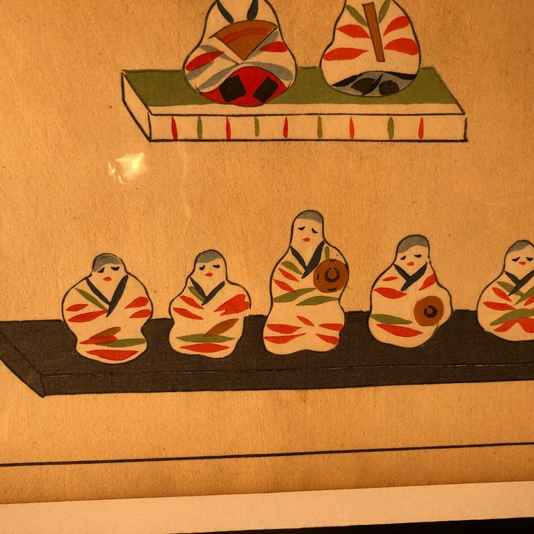 Japanese Five Antique Doll & Toy Woodblock Prints, Vibrant Colors, Frameable #1 For Sale 1