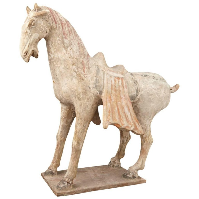 Fine Large Ancient Chinese Painted Pottery Horse, Tang Dynasty, 618 CE- 907 CE For Sale