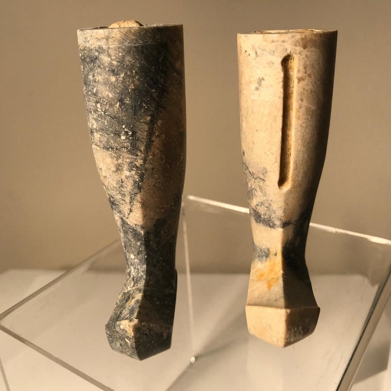Important Ancient China Pair of Imperial Jade Leg Supports Han Dynasty In Good Condition For Sale In Shelburne, VT