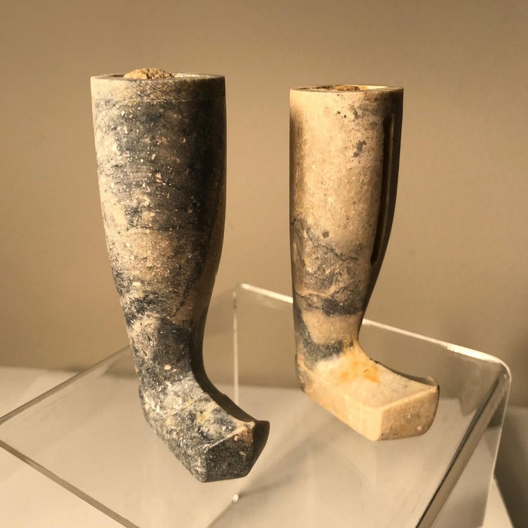 18th Century and Earlier Important Ancient China Pair of Imperial Jade Leg Supports Han Dynasty For Sale