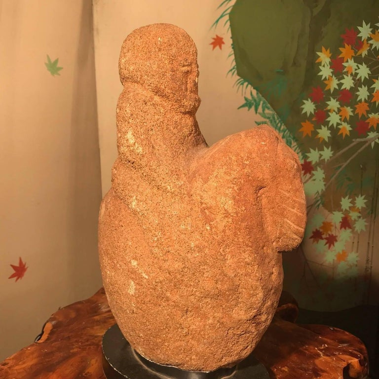 20th Century Fine Old Hand-Carved Stone Horse and Rider For Sale