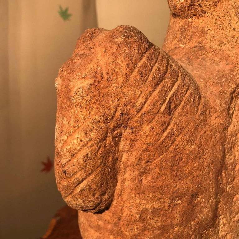 Fine Old Hand-Carved Stone Horse and Rider In Good Condition For Sale In Shelburne, VT