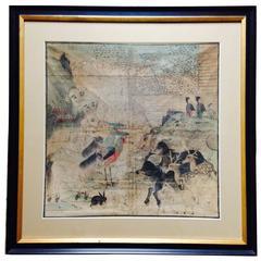 """China Stunning """"Noah's Ark"""" Painting on Silk 18th Century"""