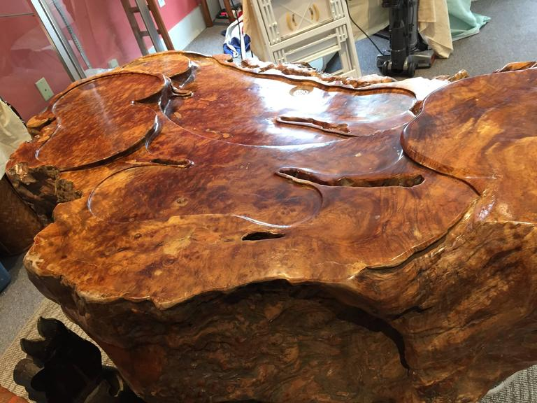 Unique Natural Organic Burl Wood Coffee Tea Display Table