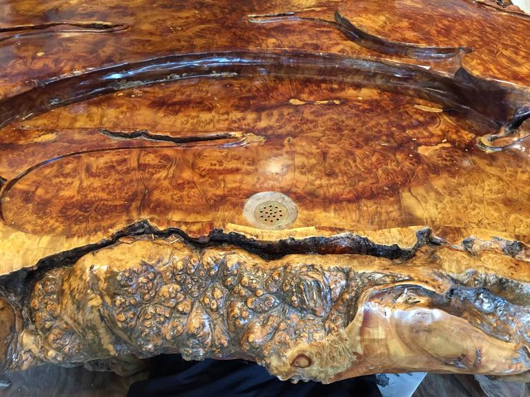 Carved Unique Burl wood Coffee Display Table Stunning Art to Showcase Your Treasures For Sale