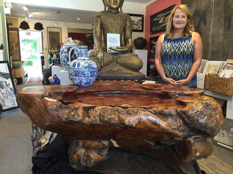 An extraordinary example of a burlwood natural organic wood coffee or tea table crafted from a rare golden camphor wood root and burl.   Dimensions: 70 cm, 28 inches high and 150 cm, 60 inches in length and 95 cm, 38 inches in depth.  Would make a