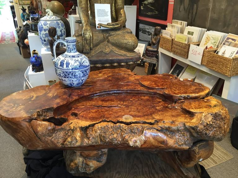 Organic Material Unique Burl wood Coffee Display Table Stunning Art to Showcase Your Treasures For Sale