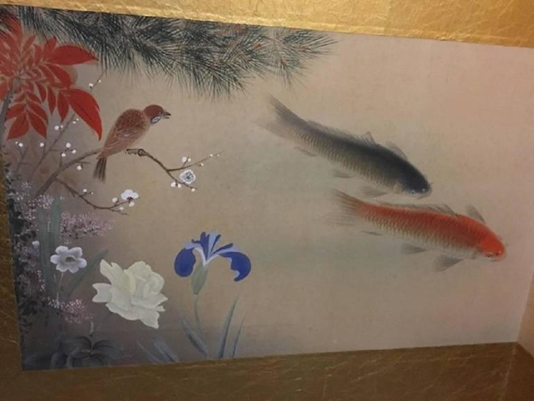 Japanese antique screen koi fish flowers birds blue red for Green koi fish for sale