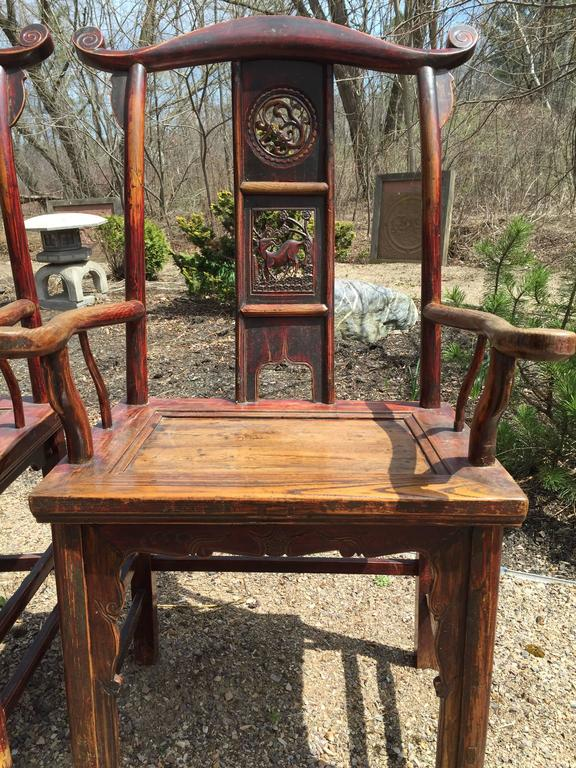Hand-Crafted Chinese Antique Pair Scholar Chairs Qing Dynasty, 19th century  For Sale - Chinese Antique Pair Scholar Chairs Qing Dynasty, 19th Century For