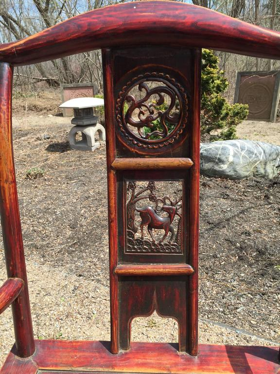 Chinese Antique Pair Scholar Chairs Qing Dynasty, 19th century  In Good Condition For Sale In Shelburne, VT