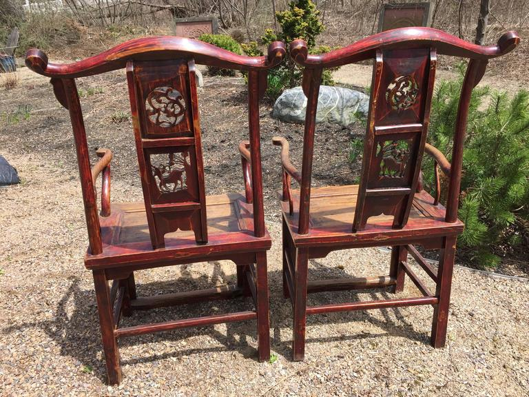 Chinese Antique Pair Scholar Chairs Qing Dynasty, 19th century  For Sale 1