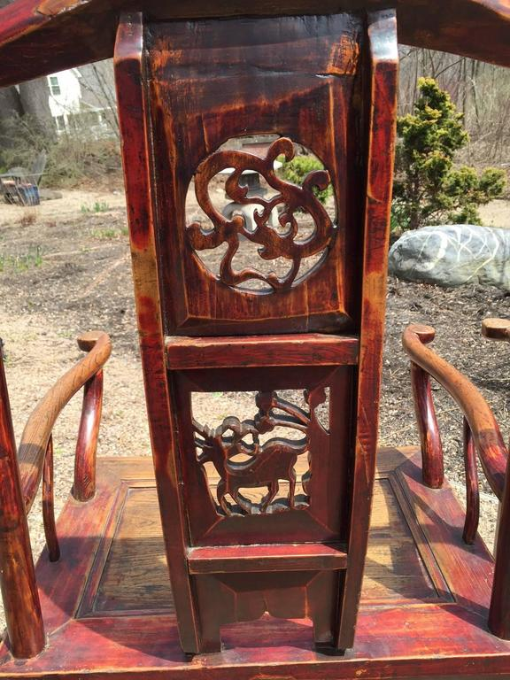 Chinese Antique Pair Scholar Chairs Qing Dynasty, 19th century  For Sale 3