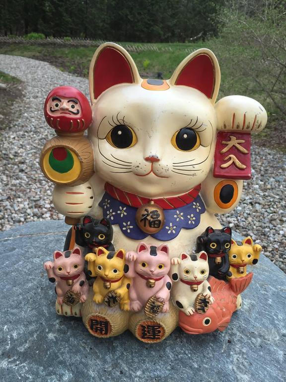 Japanese Big Red And Blue Antique Good Fortune Money Cats
