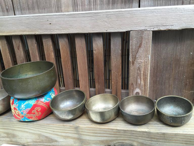 Japanese Japan Old Bronze Temple Bell Collection Eight Temple Bells Beautiful Sounds For Sale