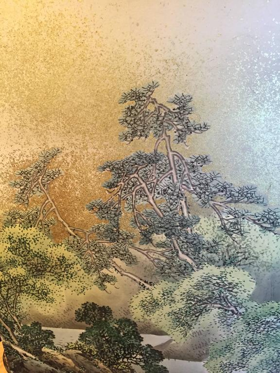 Japanese Antique SUMMER MIST MOUNTAINSIDE fine Silk Screen, 1921 For Sale 1