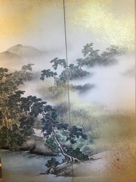 Japanese Antique SUMMER MIST MOUNTAINSIDE fine Silk Screen, 1921 In Good Condition For Sale In Shelburne, VT
