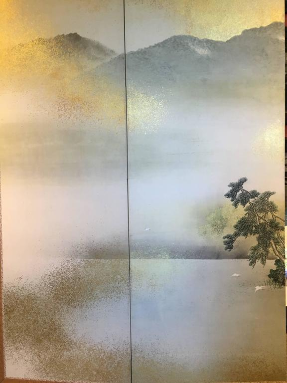 Hand-Painted Japanese Antique SUMMER MIST MOUNTAINSIDE fine Silk Screen, 1921 For Sale